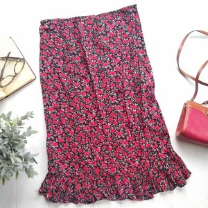 Red floral ruffle midi length summer skirt